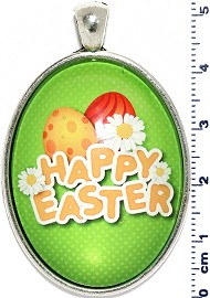 Oval Circle Pendant Happy Easter Lime Green Yellow PD4071