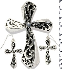 Fancy Cross Pendant Earrings Set Black Silver Tone PD4083