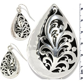 Oval Tear Drop Pendant Earrings Set Black Silver Tone PD4084