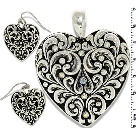 Heart Rhinestones Pendant Earrings Set Black Silver Tone PD4085