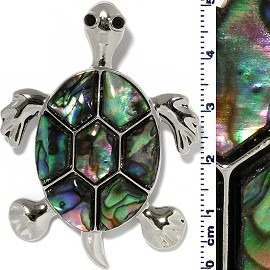 Sea Turtle Pendant Abalone Green Silver Tone Alloy PD4092