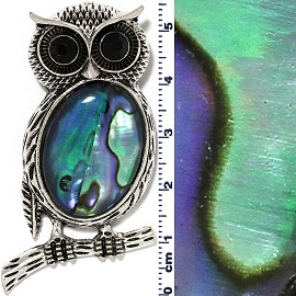 Big Eye Owl Oval Pendant Abalone Green Silver PD4093