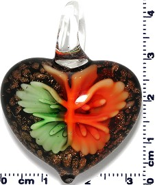 Glass Heart Green Orange Pendant Sale PD413