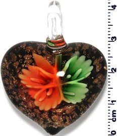 Glass Heart Green Orange Pendant Sale PD414