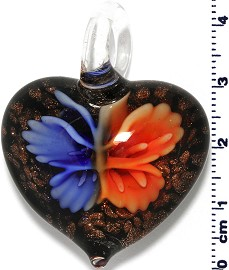Glass Heart Blue Orange Pendant Sale PD415