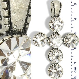 Crystal Pendant Cross Circles Antique Silver PD418