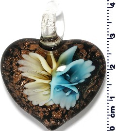 Glass Heart Blue Yellow Pendant Sale PD424
