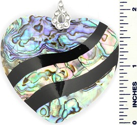 Abalone Pendant Heart Large Green Black PD437
