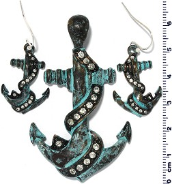 Set Pendant Earring Anchor Anti Green Rhinestone PD443