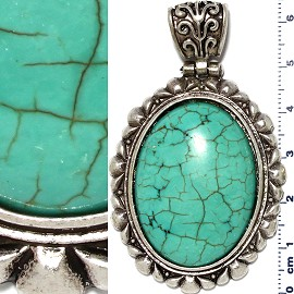 Earth Stone Pendant Oval Silver Turquoise PD449