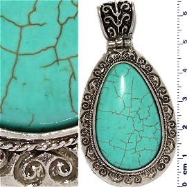 Earth Stone Pendant Oval Silver Turquoise PD450