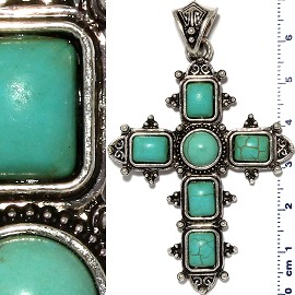 Earth Stone Pendant Cross Silver Turquoise PD451