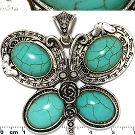 Earth Stone Pendant Butterfly Silver Turquoise PD452