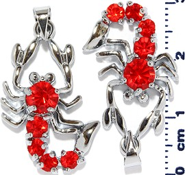 2pc Rhinestone Pendant Scorpion Red PD454