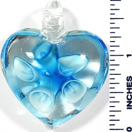 Glass Pendant Heart Flower Clear Aqua PD496