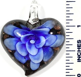 Glass Pendant Heart Flower Black Gold Blue PD507