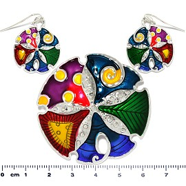 Sand Dollar Sea Shell Pendant Earrings Set Multi Colored PD509