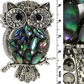 Abalone Pendant Owl Green Gray Silver Tone PD519