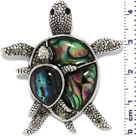 Abalone Pendant Turtle Green Black Silver Tone Alloy PD520