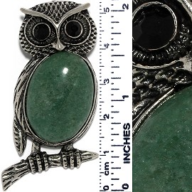Owl Gem Stone Pendant Metallic Tone Black Forest Green PD528