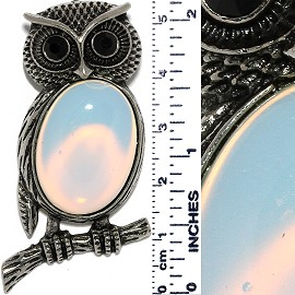 Owl Gem Stone Pendant Metallic Tone Semi Transparent White PD529