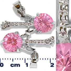 2pc Rhinestone Pendant Guitar Silver Pink PD531