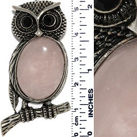 Owl Gem Stone Pendant Metallic Tone Black Light Pink PD550