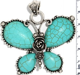 Earth Stone Butterfly Pendant Turquoise PD551