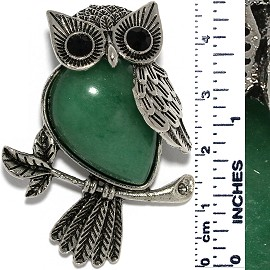 Owl Branch Gem Stone Tear Pendant Metallic Black Green PD552
