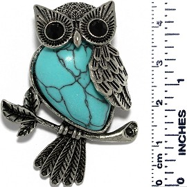 Owl Branch Gem Stone Tear Pendant Metallic Black Turquoise PD554