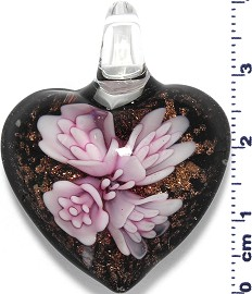 Glass Pendant Murano Heart Flower Black Gold Pink PD555