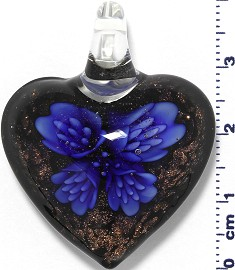 Glass Pendant Murano Heart Flower Black Gold Blue PD556