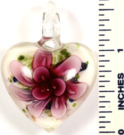 Glass Pendant Flower Heart White Green Hot Pink PD558