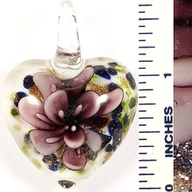 Glass Pendant Flower Heart White Green Purple PD559