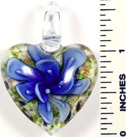 Glass Pendant Flower Heart White Green Blue PD560