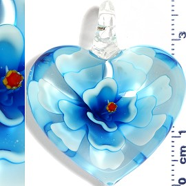 Glass Pendant Flower Heart Clear Sky Blue Turquoise PD564