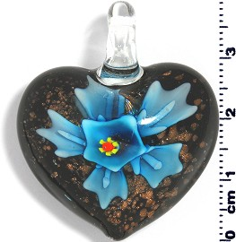 Glass Pendant Flower Heart Black Gold Turquoise PD566