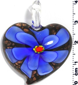 Glass Pendant Flower Heart Black Gold Blue PD568