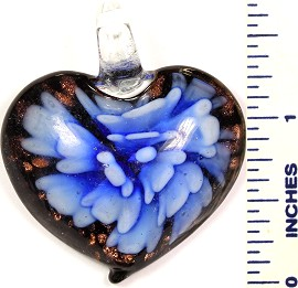 Glass Pendant Heart Flower Black Blue White PD569