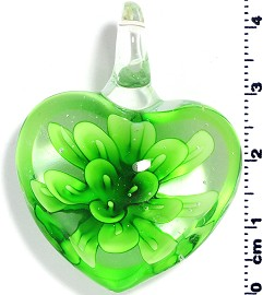 Glass Pendant Flower Heart Clear Green PD572
