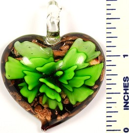 Glass Pendant Heart Flower Black Green PD573