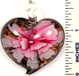 Glass Pendant Heart Flower Black Pink PD574