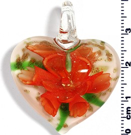 Glass Pendant Flower Heart White Orange PD577