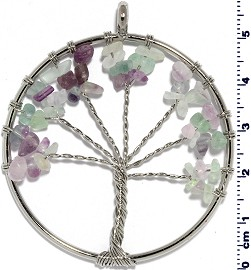 Tree Of Life Stone Metallic Pendant Silver Lt Purple White PD579