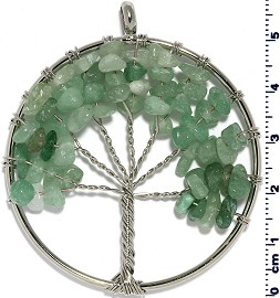Tree Of Life Stone Metallic Pendant Silver Tone Jade Green PD581