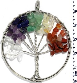 Tree Of Life Stone Metallic Pendant Silver Tone MultiColor PD582
