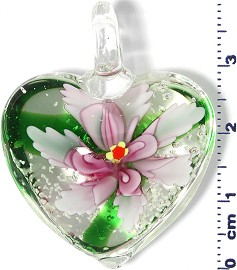 Glass Pendant Murano Heart Flower Clear Green Pink PD586