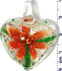 Glass Pendant Murano Heart Flower Clear Green Dark Orange PD587