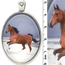 Oval Circle Pendant Running Horse Brown White Silver Tone PD588