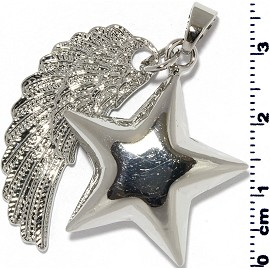 Star Wing Pendant Harmony Chime Metallic Sliver Tone PD609